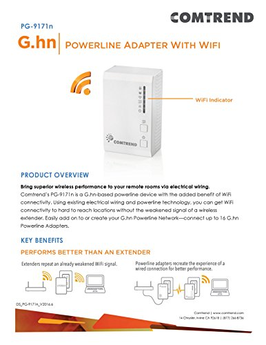 Comtrend G.hn 1200 Mbps Powerline Ethernet Bridge Adapter with WIFI PG-9171n + PG-9172 Combo Kit by Comtrend (Image #3)