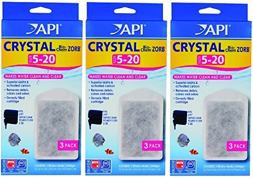 API Crystal Bio-Chem Zorb Filter Cartridges For Aquarium, Size 5 To 20 - 9 Total (3 Packages with 3 Filters (Pet Oasis Replacement Filter)