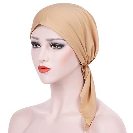 Gemini Mall® donne India Musulmano stile causale cappellini tappi Muslim cappelli  stretch turbante cappello tie bd67acce531a