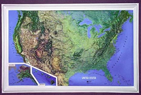 Relief Map Of United States.Amazon Com United States All 50 States Raised Relief Map Ncr