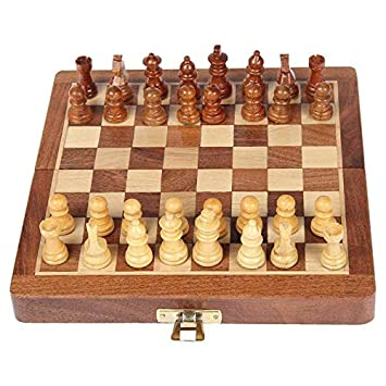 OmCrafts Folding Magnetic Travel Chess Board Set Wooden Game Handmade, Classic Game of Brilliance, 7 inches