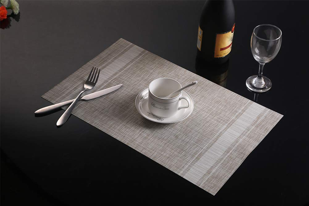 Placemats Set of 4, Smeala Heat Insulation Washable Place Mats, 17.7 x 11.8 inches Durable Non-Slip Kitchen Table Mats… - ✔ SAFETY CERTIFICATION---70% PVC+30% polyester, FDA approved and environmentally PVC materials used, they are especially the best decoration and protection to your tables. ✔ PRODUCT FEATURE---Non-slip, Heat insulation, Stain Resistant, Washable placemat, non-fading, stylish cross weave pattern with high quality. ✔ STYLISH HOME DECOR---Wherever you stayed in home, dining hall, kitchen, hotel or business office, it is perfect for daily use and good match with all tables. - placemats, kitchen-dining-room-table-linens, kitchen-dining-room - 51Ae6kDOuzL -