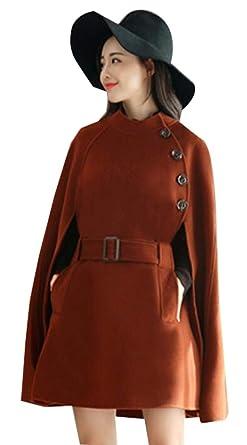 ouxiuli Women s Vintage Long Sleeve Woolen Cloak Pea Coat Overcoat with  Belt 1 XXS d0551d4d60