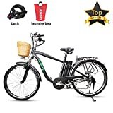BRIGHT GG NAKTO 26'' 250W Electric City ebike Mountain Bicycle Sports Shimano 6-Speed Gear with 36V10AH Lithium Battery, Lock and Laundry Bag