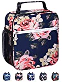 Leakproof Insulated Reusable Cooler Lunch Bag - Durable Compact Office Work School Lunch Box with Multi-Pockets & Detachable Buckle Handle for Women,Men and Kids-Big Blue Peony