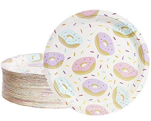 Disposable Plates - 80-Count Paper Plates, Donut Party Supplies for Appetizer, Lunch, Dinner, and Dessert, Kids Birthdays, 9 inches in Diameter ()