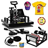 DeEtt 15''x15'' 5IN1 Combo T-Shirt Heat Press 360 Degree Rotation Swing Away Heat Press Machine Slide Rail Design Mug Hat Pressing (15''x15'' 5IN1)