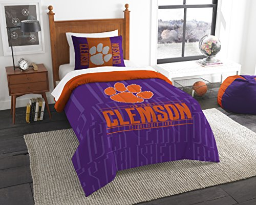 Comforter Sham - The Northwest Company Officially Licensed NCAA Clemson Tigers Modern Take Twin Comforter and Sham