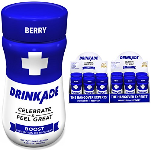 DrinkAde Boost (12 Pack of 3.4 oz Bottles) - Previously Never Too Hungover with Caffeine, Double B-12 - Sugar Free, Gluten Free, Carb Free & Low Calorie.