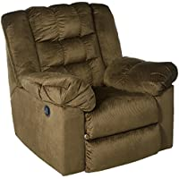 Ashley Furniture Signature Design - Mort Rocker Recliner - Manual Reclining Chair - Contemporary Style - Umber
