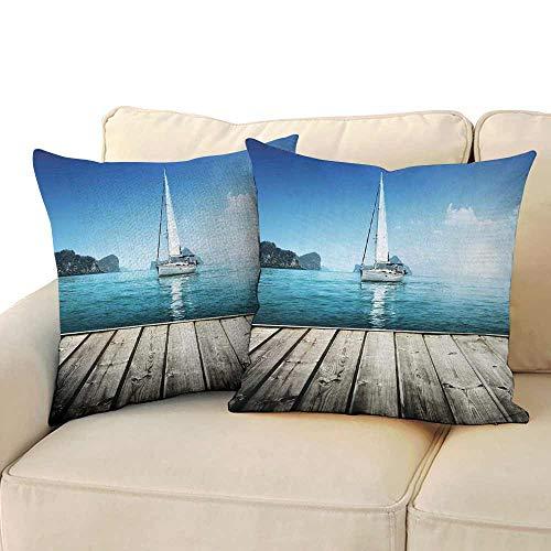 Ediyuneth Cushion Cover Square Home Life Sailboat Nautical Decor,Yacht from Wooden Deck Horizon Serene Seascape Leisure Aquatic Coastal Theme,Blue Brown 18
