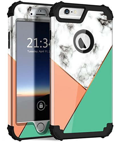 (iPhone 6s Plus Case with Marble Design, Hocase Heavy Duty Shockproof Protection Anti-Scratch Plastic Hard Shell+Silicone Rubber Phone Case for iPhone 6 Plus/6s Plus - Gloss Marble / 2-Color)