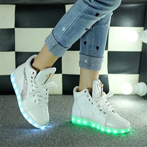 (Present:kleines Handtuch)JUNGLEST® bunt LED Leuchtend Aufladen USB Erwachsene Paare Schuhe Herbst und Winter Sport schuhe Freizeitschuhe Leucht la crystal White