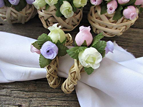 (Floral Rose Napkin Ring Holders- Grapevine Twig Wreath- Rustic Home Kitchen Dining Table Décor (Set of 4, 6, 8, 10, 12))