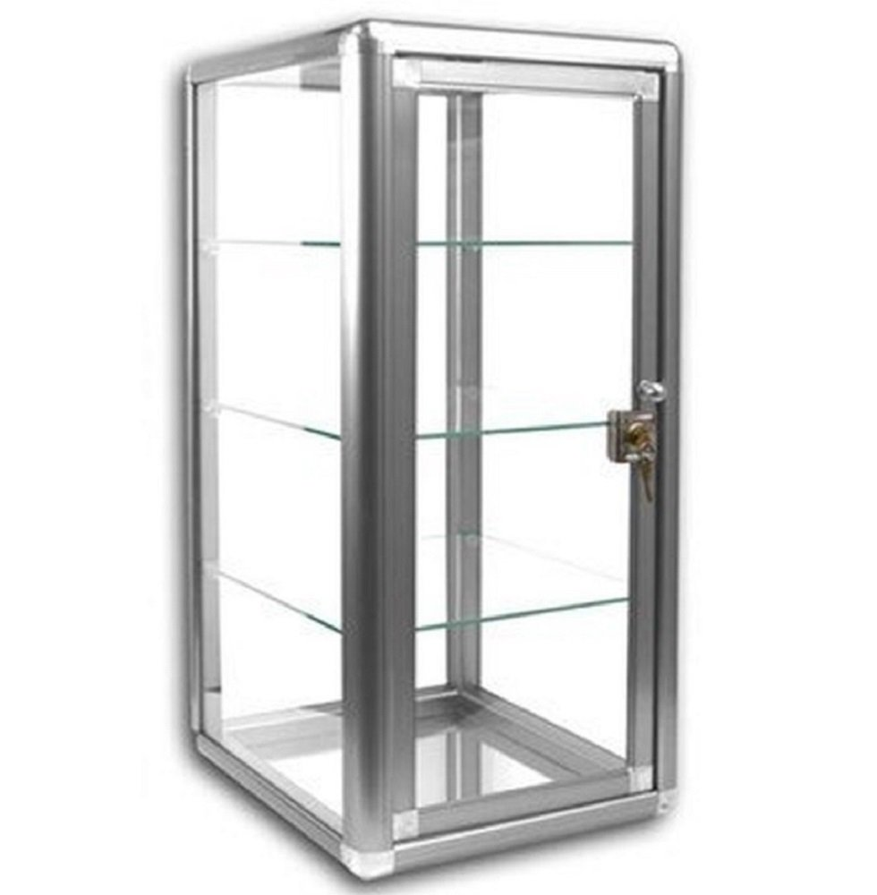 Elegant Silver Anodized Aluminum Vertical Case Table Top Tempered Glass Showcase. Tempered Glass Door with Key Lock - 3 Shelves by flanicaUSA