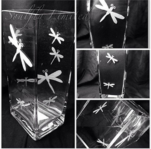 MOTHERS DAY DRAGONFLY SILHOUETTE ENGRAVED GLASS TANK VASE - PERSONALISED FREE Engraved, etched glass personalised FREE gift, wedding, birthday, mother, father, anniversary, present, Mr & Mrs, engagement, day, MEMORIAL