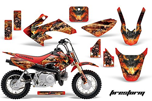 AMR Racing MX Dirt Bike Graphic Kit Sticker Decals Compatible with Honda CRF50 2004-2013 - Firestorm Red - Mx Bike Graphics