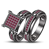 TVS-JEWELS New Bridal Ring Wedding Ring For Girl Special Day Round Cut Pink Sapphire White Plated (9.25)