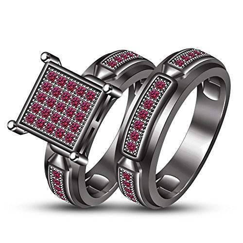 TVS-JEWELS New Bridal Ring Wedding Ring For Girl Special Day Round Cut Pink Sapphire White Plated (9.25) by TVS-JEWELS