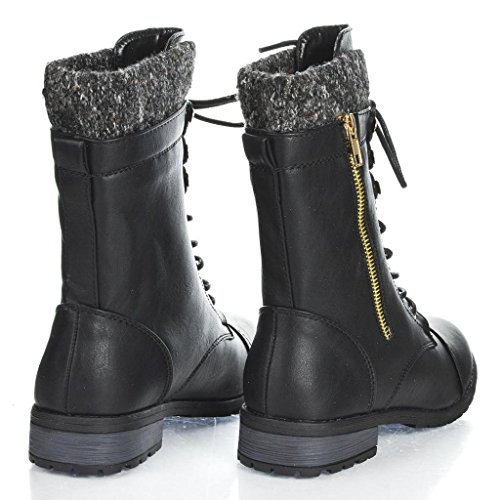 Forever Link Womens Mango-31 Runde Zehe Military Lace Up Knit Knöchel Manschette Low Heel Combat Boots Noir 15