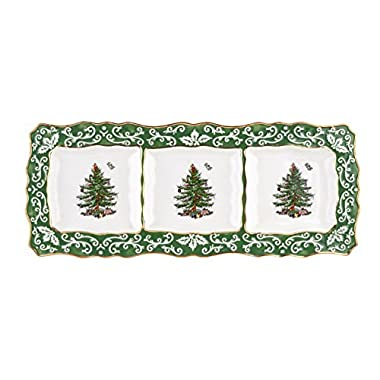 Spode Christmas Tree 3-Section Embossed Dish, Gold