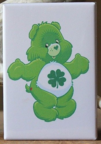 Shamrock Care Bear - Fridge / Locker Magnet. Four Leaf Clover Lucky Irish