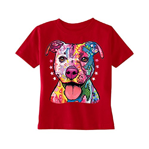 - Christmas Ugly Sweater Co Neon Pitbull Florecent Dog Toddler T-Shirt Cool Colored Pit Bull Face Kids Red 4T