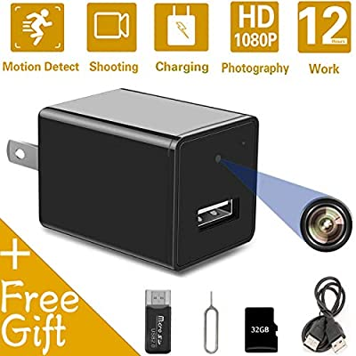 Hidden Spy Camera USB Charger | Full HD 1080P Spy Camera with 32GB Memory Card | Motion Detection Loop Video Record Hidden Security Camera by HEXET