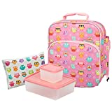 Image of Bentology Lunch Bag and Box Set - Includes Insulated Bag with Handle, Bento Box, 5 Containers and Ice Pack (Owl 2 Containers)