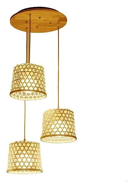 Imagen deAraña, lámpara Colgante de ratán de Mimbre Tropical del sudeste asiático, Techo Colgante de luz Interior,3heads