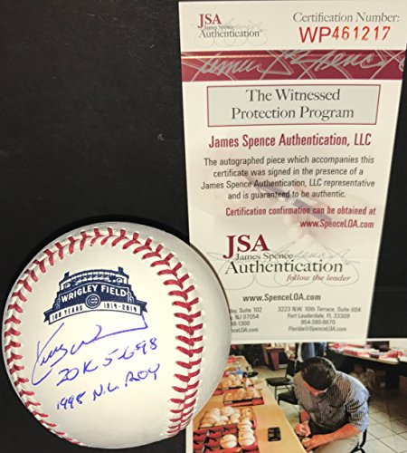 Kerry Wood Chicago Cubs Autographed Signed Official Major League 2014 100th Anniversary OF Wrigley Field Baseball JSA COA 20K 5-6-98 & 1998 NL ROY Chicago Cubs Kerry Wood