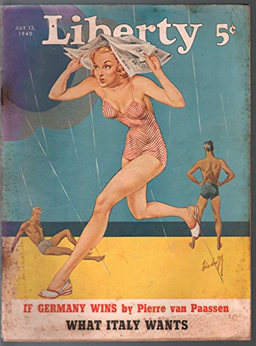 Liberty 7/13/1940- pre WWII era-Bishoff swimsuit cover-Hitler-pulp fiction-G/VG