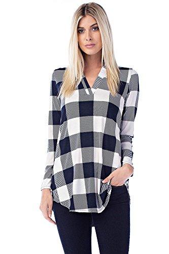 Betsy Red Couture Women's Notch Neck Tunic Top (3X, Navy Ivory Checkers)