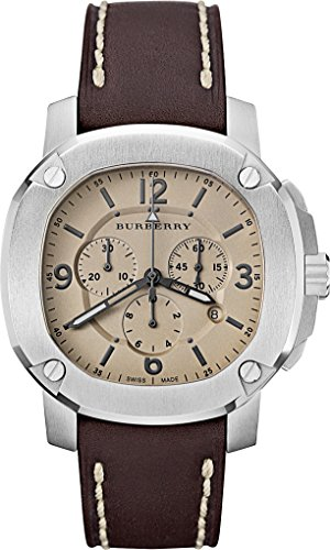 SALE! Authentic Swiss The BRITAIN LumiNova Brown Leather Burberry Men Luxurious Chrono Watch - Sale Men For Burberry