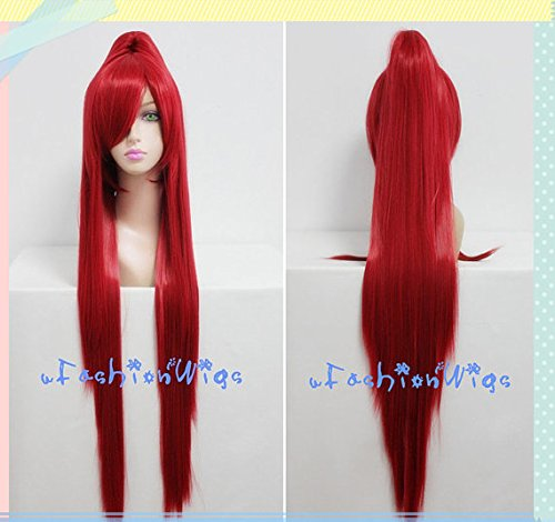 Blink X Men Costume (100cm Long X Men Red Blink Cosplay Wigs with a Ponytail, Costume Anime Wig for Party UF064)