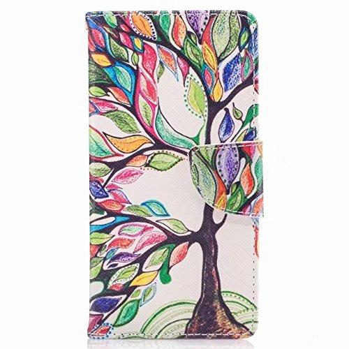 Custodie Nokia 3 Cover, Yiizy colore di alberi Design Custodia Portafoglio Silicone Gomma Flip Cover Case PU Pelle Cuoio Copertura Case Slot Schede Cavalletto Stile Libro Bumper Protettivo Borsa YI15144