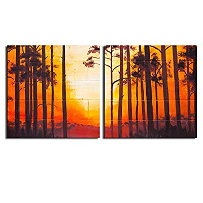 Canvas Prints Wall Art - Vintage Landscape Oil Painting on Wall - 24