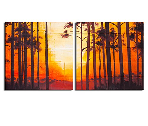 Vintage Landscape Oil Painting on Wall x 2 Panels