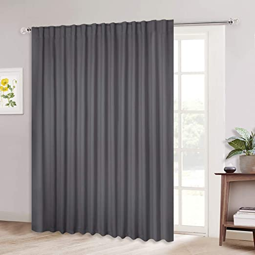 Amazon Com Nicetown Patio Door Curtain Slider Blind Wide Width Blackout Curtains Drapes With Rod Pocket Back Tab Design Grey Sliding Door Draperies Gray 100 Inches W X 84 Inches L Single Panel