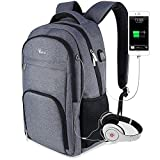 Voova Business Laptop Backpack Bag with USB Charging Port Anti-Theft Water Resistant Polyester Travel Backpack School Bookbag for College Up to 15.6-Inch Laptop and Notebook Grey