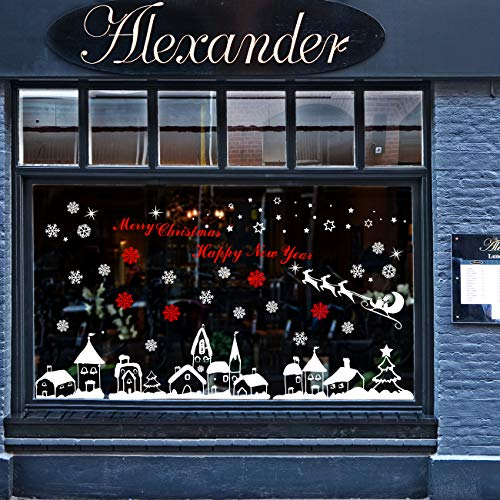 Naler Christmas Decoration Snowflake Window Clings Glueless PVC Wall Stickers for Windows Glasses (White) (Display Window Decorations Christmas Shop)