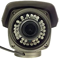 101AV 1000TVL Bullet Camera 1/3 Sony 1.4 Megapixel CMOS Sensor DC 12V 2.8-12mm Varifocal Lens 100 ft IR Range 36 pcs Infrared LEDs OSD Control WDR Wide Dymanic Range Weather Proof Vandal Proof Metal Housing High Resolution Color Wide Angel View Home Office Surrevillance Secure System Indoor Outdoor External Focus Adjustment Charcoal