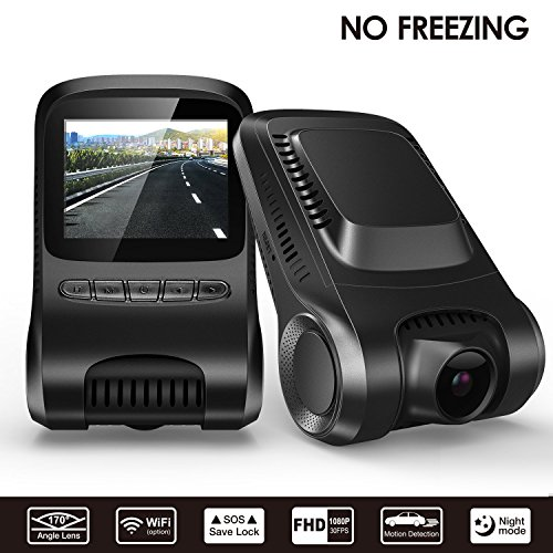 NO Freezing-Surwow Dash Cam Dashboard Camera Recorder with Sony Exmor 323 Sensor, 1080P FHD, Nighthawk Vision, 170 Wide-Angle View, WiFi, G-Sensor, WDR, Loop Recording, and Night Mode
