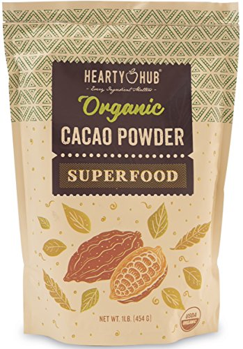 Heartyhub Organic Cacao Powder: from Hand-Picked Peruvian Criollo Cocoa Beans - 1 LB - Gluten-Free, Vegan, Kosher & Paleo Diet Friendly - Unsweetened Cocoa Powder - Raw Cacao Powder by Heartyhub