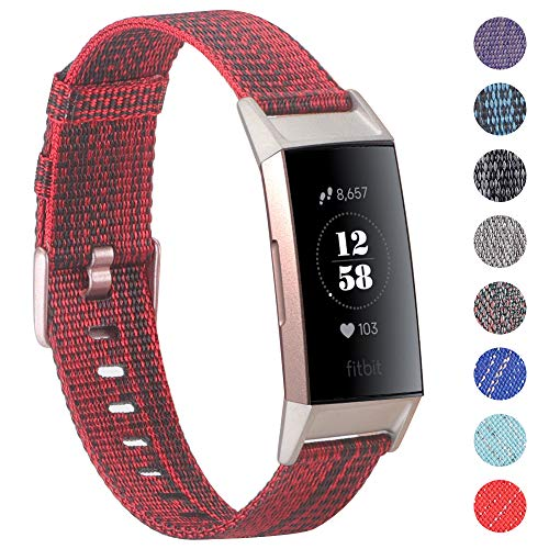 EZCO Compatible Fitbit Charge 3 Bands, Woven Fabric Breathable Watch Strap Quick Release Replacement Wristband Accessories Man Woven Compatible Charge 3 Fitness Smart Watch