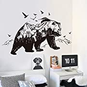 DNVEN DIY (48  w x 27  h) Big Bear Mountain Forests Silhouette Animals Wall Stickers Decals Decorations for Children Nursery Kids Room