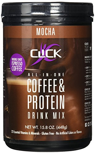 CLICK Coffee Protein, Protein & Real Coffee All-In-One, Meal Replacement Nutrition Drink, Mocha Flavor 15.8-Ounce Canister, 23 Essential Vitamins, Double Shot Espresso Coffee, Hot or Cold by CLICK