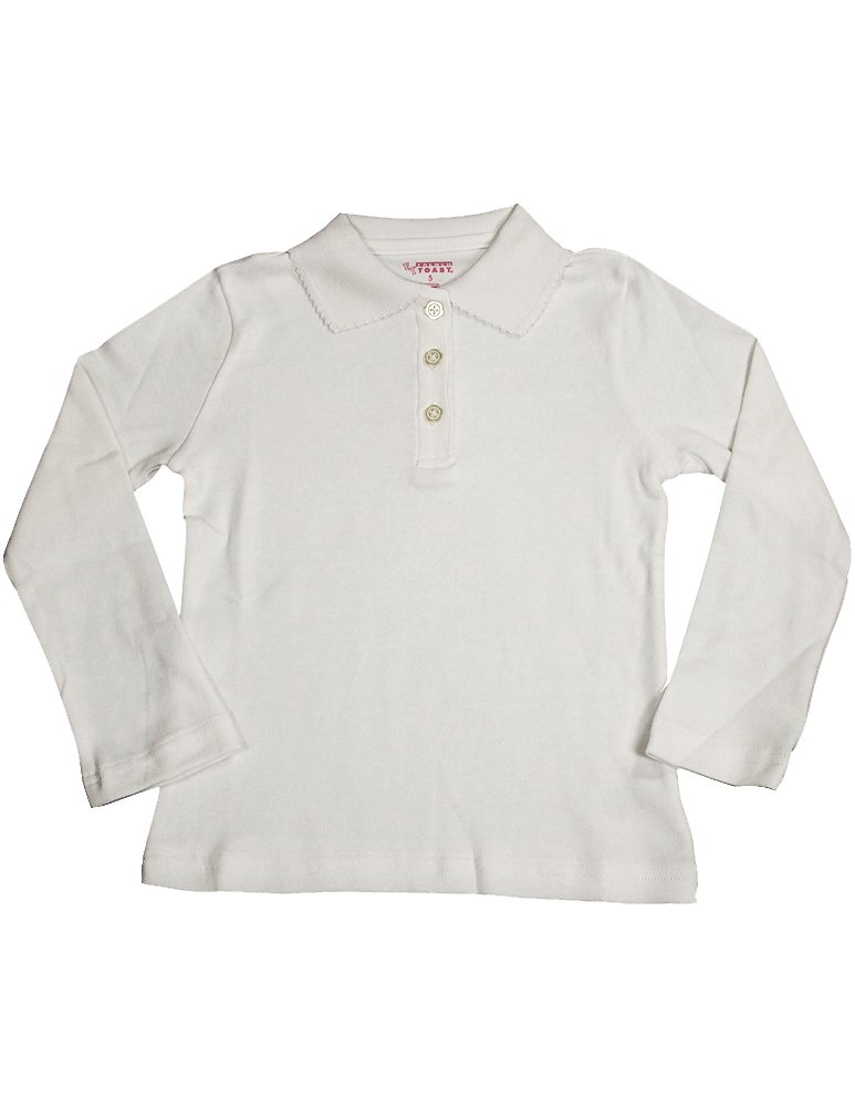 French Toast School Uniform Girls Long Sleeve Polo with Picot Collar, White, 18