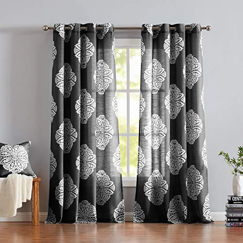 Halloween Black N White (Halloween Black White Window Curtains 84 Inch for Living Room Print Medallion on Semi Sheer Curtain Panel Pairs 2)