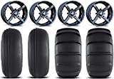 Bundle - 9 Items: MSA Black Battle 14'' ATV Wheels 27'' Sand Slinger Tires [4x137 Bolt Pattern 10mmx1.25 Lug Kit]
